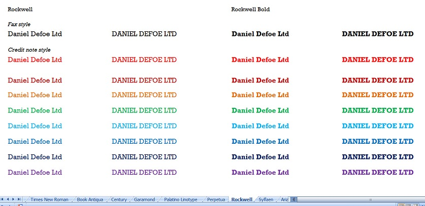Daniel Defoe Ltd in many different styles
